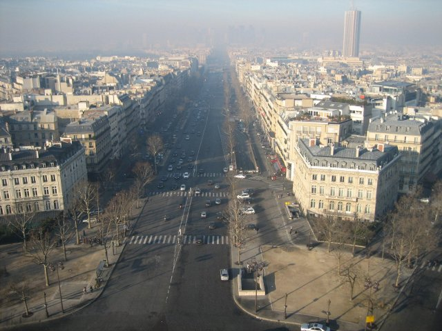 View of the road from top of the arc
