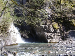 Trummelbach waterfall as seen at the entrance of the mountain..